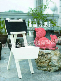 园艺奶白色凳形花盆 创意家居装饰品混批白色木花盆 10B467-室外设