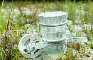 手推小水车手工花盆 水洗白色木质工艺花盆 10A681-景观花钵容器