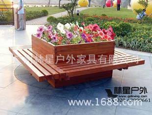 景观种植花箱防腐木带座花坛户外花箱厂家定做木制带座位花坛3045-