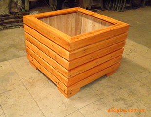 【厂家直销】实木花箱、防腐木花箱、塑胶木花盆、木塑花箱-景观花