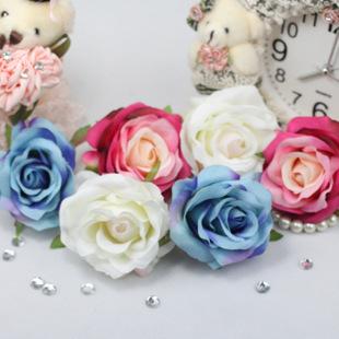 DIY手工配件材料 仿真花大玫瑰花朵 手工拖鞋配件 新娘发饰 多色-仿真图片
