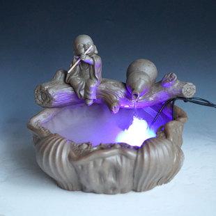 厂家直销陶瓷流水器创意雾化喷泉水景陶瓷工艺品摆件客厅办公室-喷
