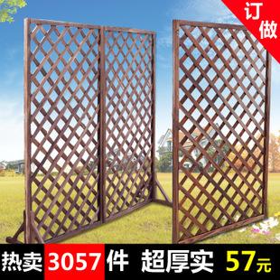 格实木围栏园艺栅栏木篱笆户外护栏炭化木网格-景观建材 景观建材