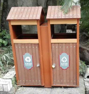 厂家销钢木垃圾桶 户外分类垃圾桶果皮箱 环卫保洁小区学校果壳箱
