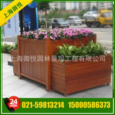 【专业定制】木质道路花箱 组合花箱 防腐木园林花箱定做-景观花钵容