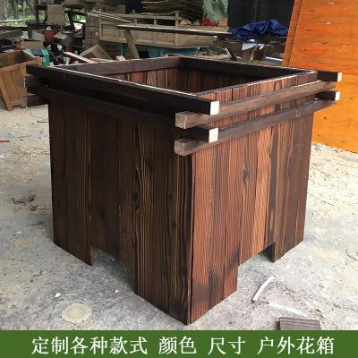 厂家批发定做防腐木花箱碳化木花盆实木户外花车花架组合圆形花桶-
