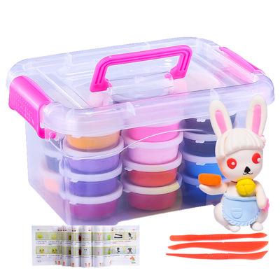 厂家直销超轻粘土24色套装儿童diy玩具橡皮泥黏土3C认证水晶彩泥
