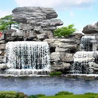 浙江杭州假山石材施工 大型跌水、千层石、龟纹石假山